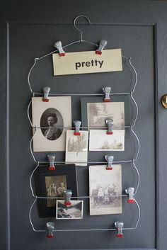 Vintage Skirt Hanger Photo Holder