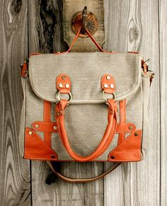 Orange and neutral tote. Soph, this is similar to the one I got you :) Luv it!