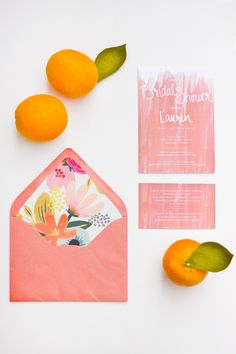 Oh my sweetness. Can this be every card I ever use again? | Coral Bridal Shower Invitation