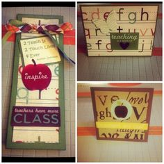 http://fashionpin1.blogspot.com - Gifts for my daughters teacher. Bookmark and two cards