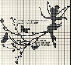 Grille gratuite point de croix : Fée Clochette et papillons monochrome - Le blog de Isabelle