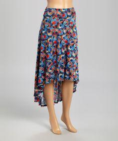 Royal & Red Peacock Hi-Low Skirt #zulily #zulilyfinds