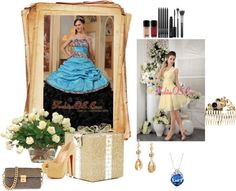 """New Aqua Blue and Black Quinceanera Dress Sweetheart Ruffles Taffeta and Organza Ball Gown"" by quinceaneradress ❤ liked on Polyvore"