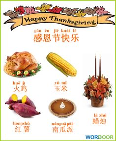 Wordoor Chinese - Thanksgiving words Basic Chinese, Chinese English, Learn Chinese, Traditional Chinese, Chinese Thanksgiving, Thanksgiving Words, Thanksgiving Recipes, Chinese Phrases, Chinese Words