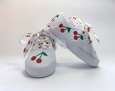 Cherry Shoes, Hand Painted White Cotton Canvas Sneakers for Baby or Toddlers, Red Cherry Fruit Outfit Baby Sneakers, Canvas Sneakers, White Sneakers, Toddler Sneakers, Painted Sneakers, Hand Painted Shoes, Owl Shoes, Baby Shoes, Toddler Girl Outfits