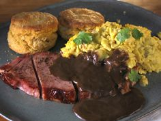 Scrambled Eggs with Sweet Potato Biscuits, Ham Steak and Red-Eye Gravy recipe from Bobby Flay via Food Network