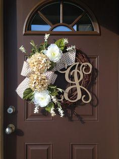 Wreath Summer Wreath Front Door Hydrangea Wreath with by Flowenka