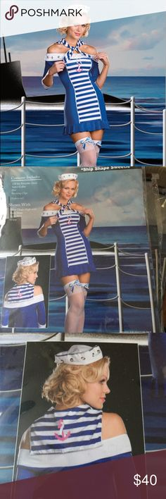 Ship Shape Sweetie Sailor Costume Halloween Costume  4 piece set: Off the shoulder dress Sailor collar Hat Stocking clips  Dress tried on for size in store. Accessories never opened.  Small 90-120lbs Medium 120-140lbs Large 140-160lbs Dreamgirl Dresses Mini