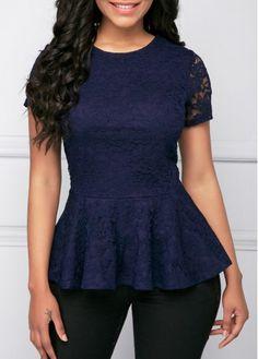 Short Sleeve Navy Blue Peplum Lace Blouse