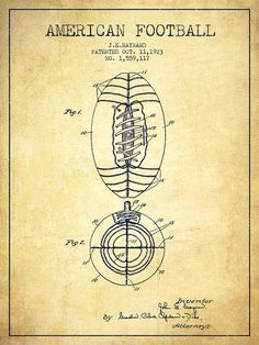 Football Poster featuring the drawing Vintage American Football Patent Drawing…