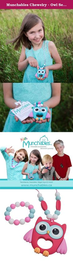 Munchables Chewelry - Owl Sensory Chew Necklace & Bracelet (Honeysuckle). Munchables kids' products are perfect not only as fashion accessories, but also for children that love to chew. Munchables provide a safe alternative to chewing on collars, cuffs, fingers. Made of durable, BPA-free, 100% food-grade silicone, Munchables can reduce anxiety and boost confidence. Munchables offers 'manly' dog tag pendants, adorable beaded necklaces, cute bracelets, key rings and much more! Munchables…