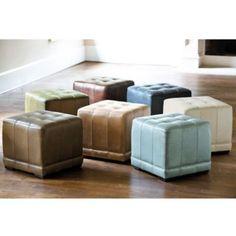 Leather Cube Ottoman | Ballard Designs