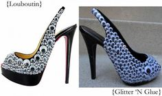DIY Louboutin like googly eye sling backs