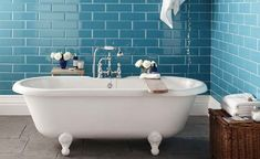 Add colour with bold bathroom tiles