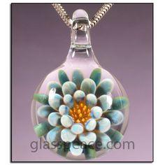 Blown Glass Pendant - Boro Lampwork Blue Flower Necklace Focal by Glass Peace $20.95
