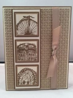 handmade card ... monochromatic kraft .. like the off-the-edge stamping of the three main images ... excellent design ... Stampin' Up!