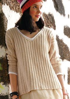 Pullover mit V-Ausschnitt, Garnpaket zu Modell 32 aus Rebecca Nr. 61, gestrickt aus ggh-Garn TAVIRA