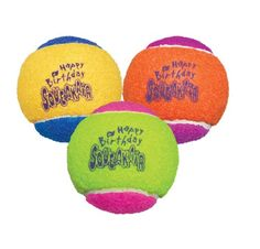 KONG Air Dog Squeakair Birthday Balls Dog Toy, Medium, Colors Vary (3 Balls) Fun and bouncy birthday tennis ball dog toy will make any dog's birthday a hit. Constructed from non-abrasive tennis ball fabric that Read  more http://dogpoundspot.com/dog-toys/kong-air-dog-squeakair-birthday-balls-dog-toy-medium-colors-vary-3-balls/  Visit http://dogpoundspot.com for more dog review products