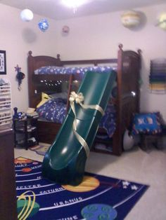 I love this! Add a little slide to kids bunk beds.