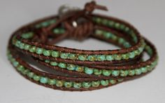 Leather Wrap Beaded Bracelet  3x Wrap Bracelet  Turquoise Picasso. $40.00, via Etsy.