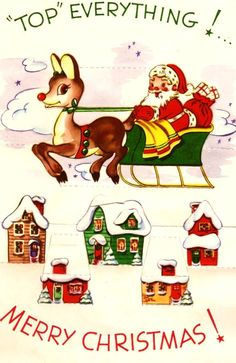Vintage Christmas Card Santa and Rudolph the Red Nosed Reindeer