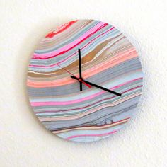 Marbled Wall Clock Decor and Housewares  Time  Home by Shannybeebo