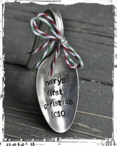baby's first christmas spoon ornament