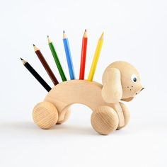 sarah & bendrix : Percival - Wooden Dog Toy Pencil Holder