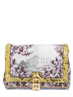 8e611ae80ae5 Dolce  amp  Gabbana Temple Pattern Brocade with Python Leather Trim Bag  Dolce And Gabbana Handbags