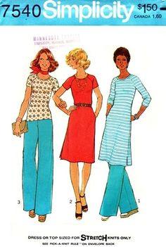 Simplicity 7540 Eye Pleasing Dress or Top & Pants 1976