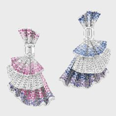 Dior Fine Jewelry Archi Dior Ailee Diamant earrings in white gold, diamonds, sapphires, and pink and purple sapphires, price upon request Dior, NYC, 800.929.3467 -