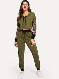 Fishnet Sleeve Lace Up Hoodie & Sweatpants Set is part of Spring fashion Chic Classy - Carrot OccasionWeekend Casual Swag Outfits For Girls, Sporty Outfits, Girl Outfits, Cute Outfits, Fashion Outfits, Fashion Trends, Hip Hop Dance Outfits, Birkenstock Outfit, Teen Fashion