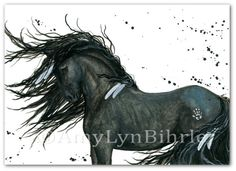 Majestic Horse Black Friesian Native American Feathers Mustang Spirit - mm112 - Original Painting by BiHrLe