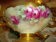 Punch Bowl - Hand Painted - French Tea Roses - Signed by Famous from onlyfinelines on Ruby Lane