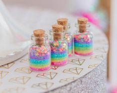Magia de un unicornio, jarras de medio, pastel, del arco iris, estrellas, fiesta de unicornio, unicornio Favor