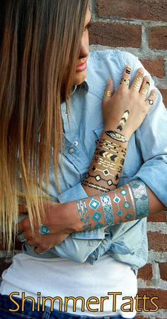 ShimmerTatts Metallic Tattoos, Metallic Temporary Tattoos are the perfect stocking stuffer gift idea this holiday season. SHOP www.ShimmerTatts.com now & save 10% with coupon code: PIN10