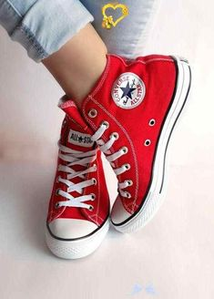 Converse All Star Red High Top  <br> Converse All Star, Red High Top Converse, Converse Chuck Taylor All Star, Chuck Taylor Sneakers, Red Chucks, Converse Wedding Shoes, Wedge Wedding Shoes, Prom Shoes, Wedge Shoes