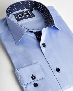 Franck Michel shirt | Light blue italian shirt for men with navy blue liner and dots | fashion-shirts.com