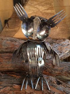 Owl Sculpture Upcycled Recycled Metal Cutlery