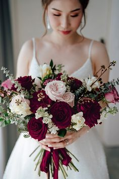 Romantic blush and burgundy wedding bouquet with classic flowers and roses - Madiow Photography Spring Wedding Flowers, White Wedding Bouquets, Bride Bouquets, Bridal Flowers, Flower Bouquet Wedding, Floral Wedding, Fall Wedding, Romantic Flowers, Flowers For Weddings