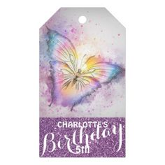 #glitter - #Personalized Purple Glitter  Butterfly Birthday Gift Tags