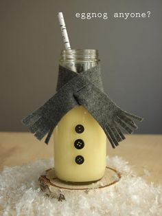 Serve Eggnog in Milk Bottles with little scarves and buttons on.