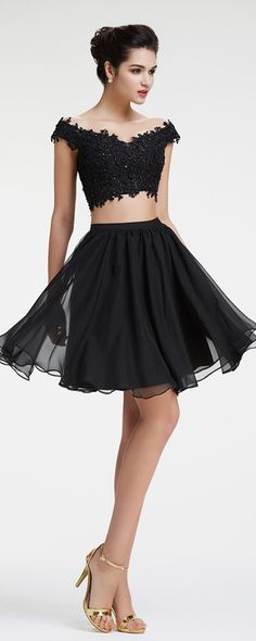 Black two piece prom dresses short off the shoulder prom dress beaded sparkly prom dress homecoming dresses