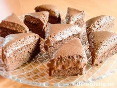 """Dette er en guddommelig sjokoladekake hentet fra mesterkokken Arne Brimis spennende bok """"Den siste fristelse"""" (Versal forlag, 2008). Kaken lages av hjemmelaget sjokolademousse som dels stekes og dels beholdes som mousse. Han skriver selv om kaken: """"Bli ikke skremt av oppskrifta. Dette er en farlig god og kraftig kake som kan serveres hel, eller i små biter"""". Se også den fantastiske kaken som heter """"Chocolatissimo"""" på detsoteliv.no, som er basert på tilsvarende ko... Sweets Cake, Cookie Desserts, Baking Recipes, Cake Recipes, Norwegian Food, Scandinavian Food, Happy Foods, Dessert Drinks, Yummy Cookies"""