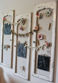 Old Shutter Decor - use chicken wire as memory board, or for crafting ideas