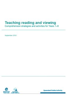 Teaching reading and viewing - Comprehension strategies and activities  for Years 1-9.