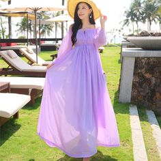 Women Chiffon Dresses Summer 2016 Fashion Beach Slash Neck Ankle-Length High Quality Lantern Sleeve Female Long Dress On Holiday