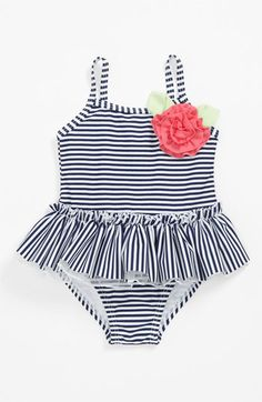 Little Me Stripe One Piece Swimsuit | Nordstrom