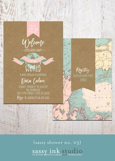 Baby Shower Invitation Welcome to the World by SassyInkStudio