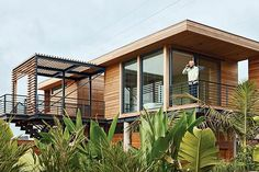 It's hard to believe this striking modern home in Stinson Beach, California has only 450 square feet of interior space. Decks on all sides of the house provide extra space to relax — plus picturesque views of the Pacific Ocean. #refinery29 http://www.refinery29.com/small-vacations-home#slide-8